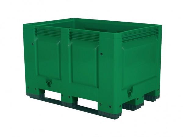 Caisse-palette en plastique - 1200x800mm - 3 semelles - vert